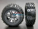 Kyosho Mini Inferno Plastic Front/Rear Sinkage Rims (6 Vacuum) With Radial Tires - 1pr set - GPM PMIF612887F/R